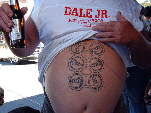 Bad-tattoos-173. (does it looks like this Dale Jr. fan is actually drinking.