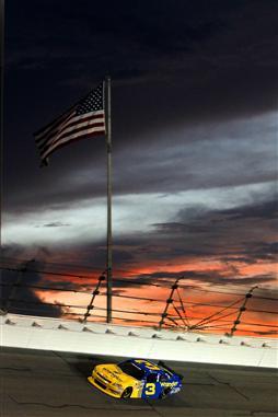 2010 Daytona July NNS race Dale Earnhardt Jr flag sunset